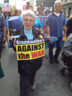 Ruth at the climate action march in Oakland earlier this year