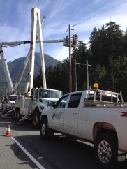 Workers were replacing high voltage lines along Highway 4 on Vancouver Island. I didn't see women but it was hard to tell. Made me think of my Canadian high voltage electrician sisters.