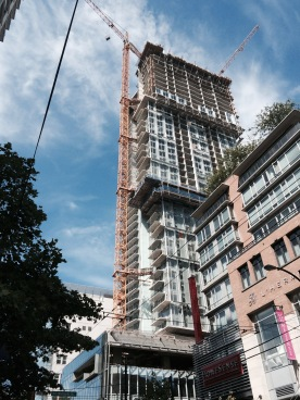 One of many big buildings going up in Vancouver