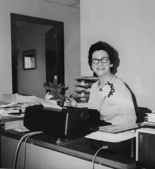 Flo in her office 1970s