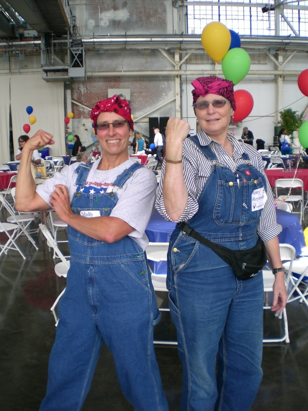 Me and Amy Reynolds posing as Rosies at a Rosie the Riveter event