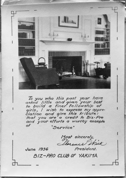 Flo was Biz-Pro president in 1936
