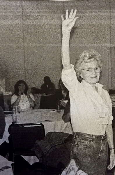 Acknowledging her fans at a tradeswomen conference, 1980s